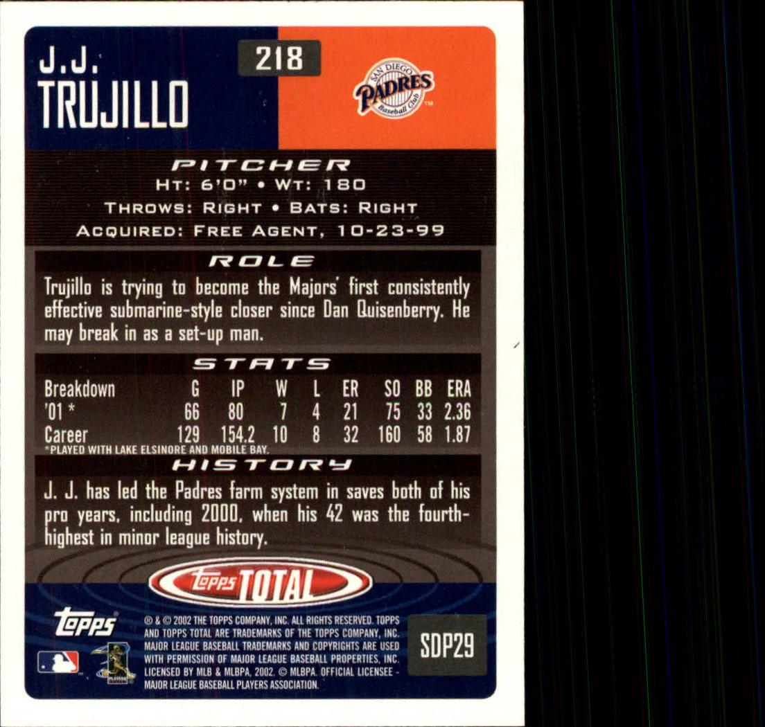 2002 Topps Total #218 J.J. Trujillo RC back image