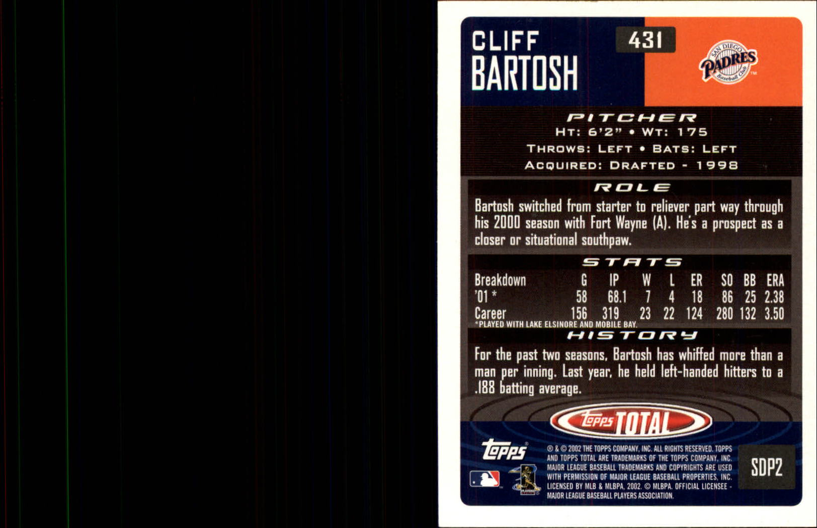 2002 Topps Total #431 Cliff Bartosh RC back image
