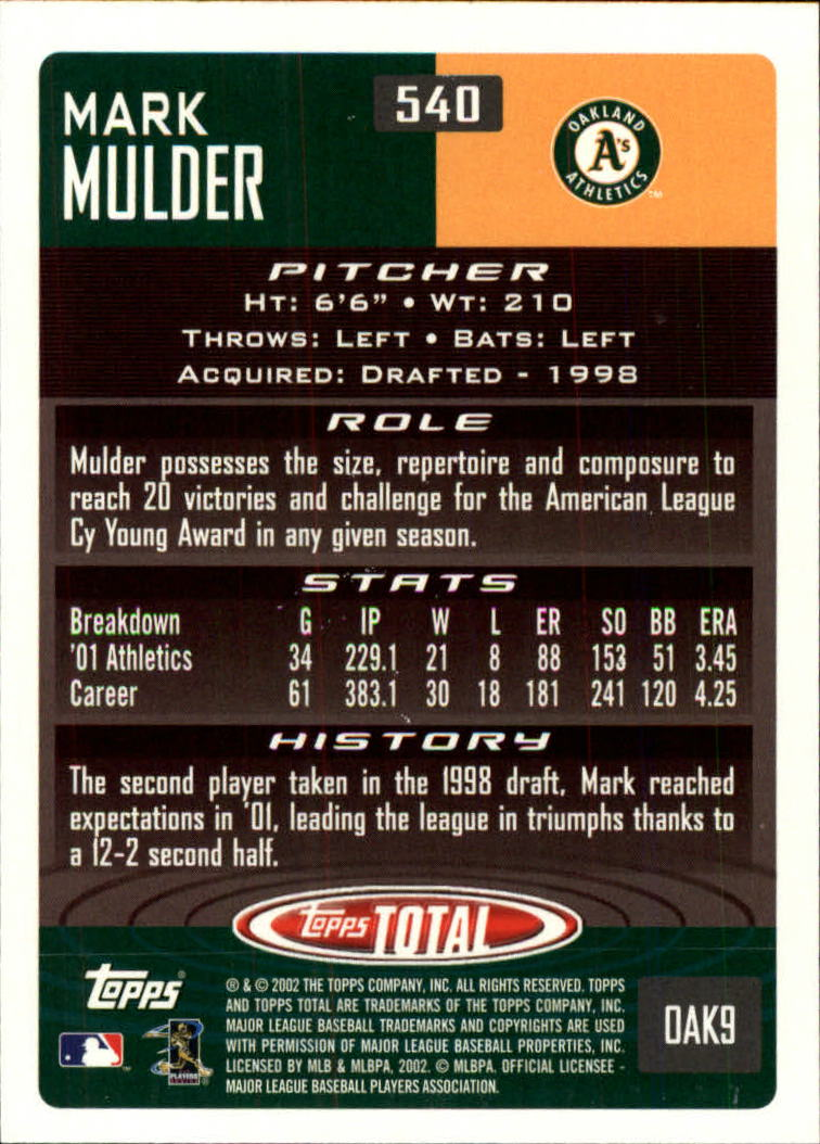 2002 Topps Total #540 Mark Mulder back image