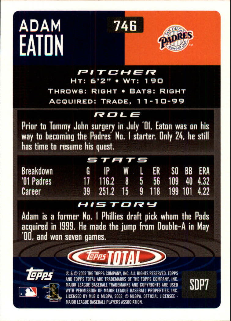 2002 Topps Total #746 Adam Eaton back image