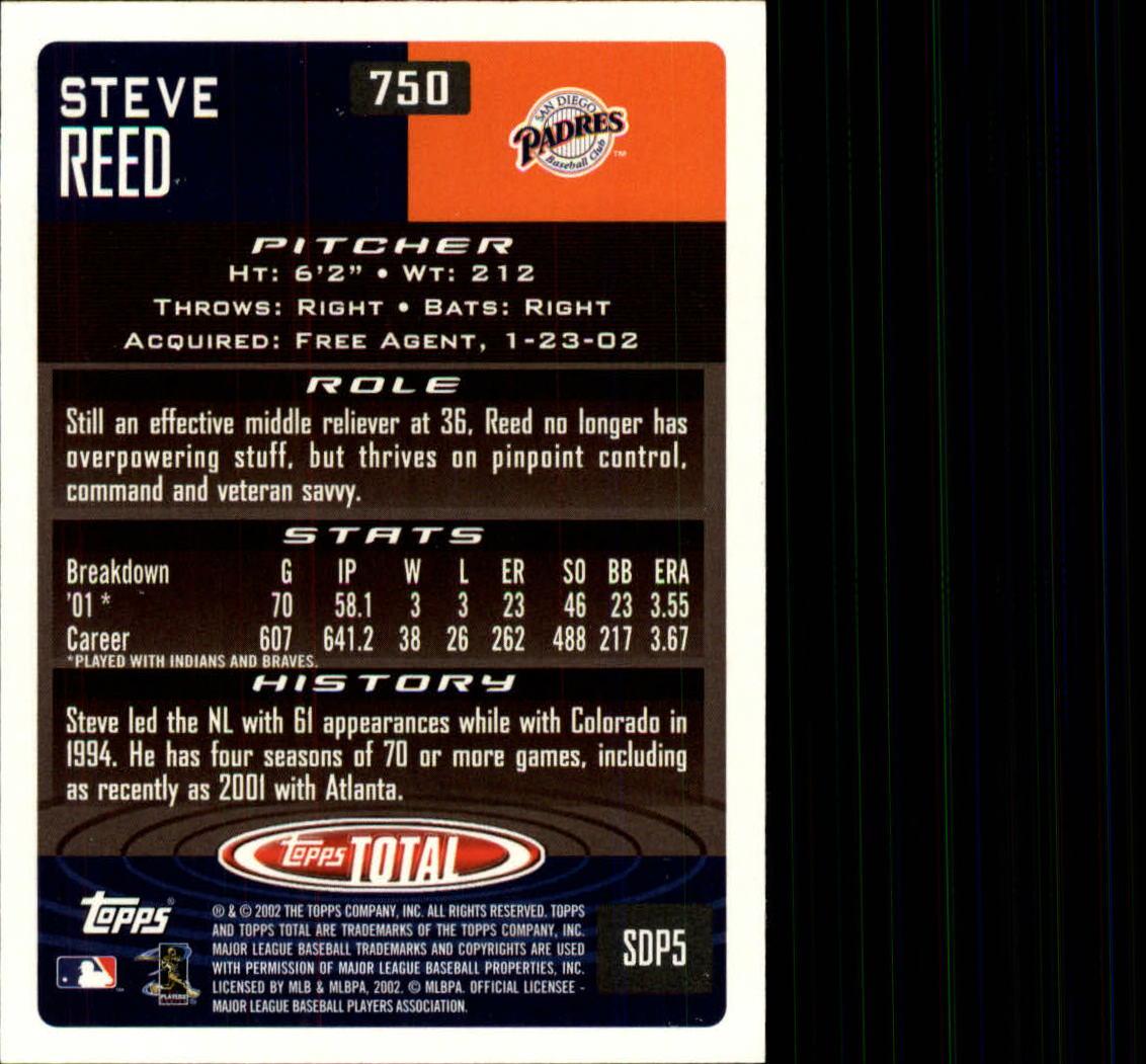 2002 Topps Total #750 Steve Reed back image