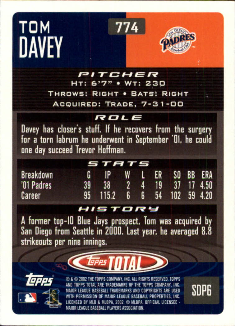 2002 Topps Total #774 Tom Davey back image