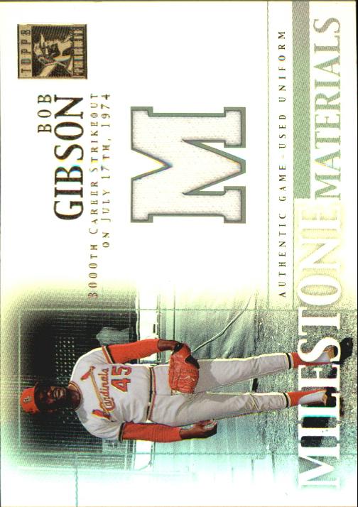 2002 Topps Tribute Milestone Materials #BG Bob Gibson Uni