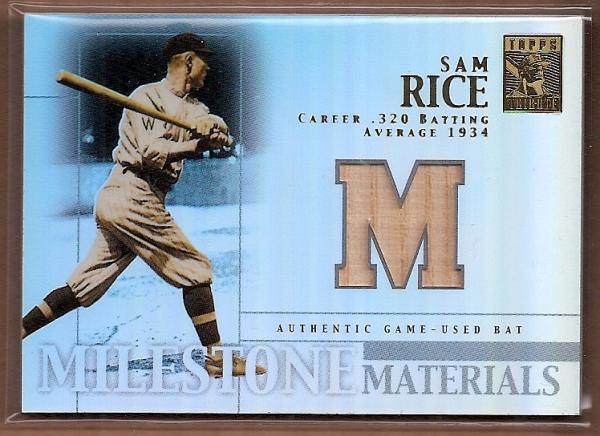 2002 Topps Tribute Milestone Materials #SR Sam Rice Bat