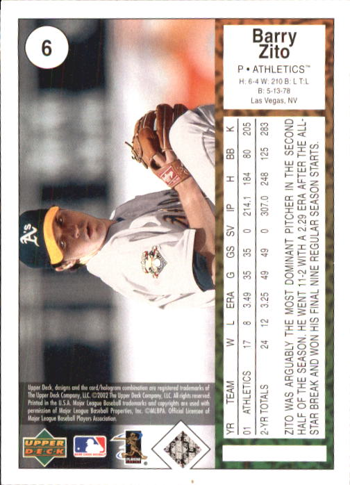 2002 UD Authentics #6 Barry Zito back image