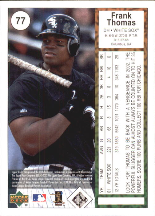 2002 UD Authentics #77 Frank Thomas back image