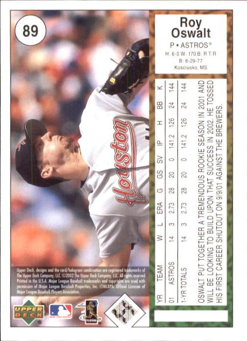 2002 UD Authentics #89 Roy Oswalt back image