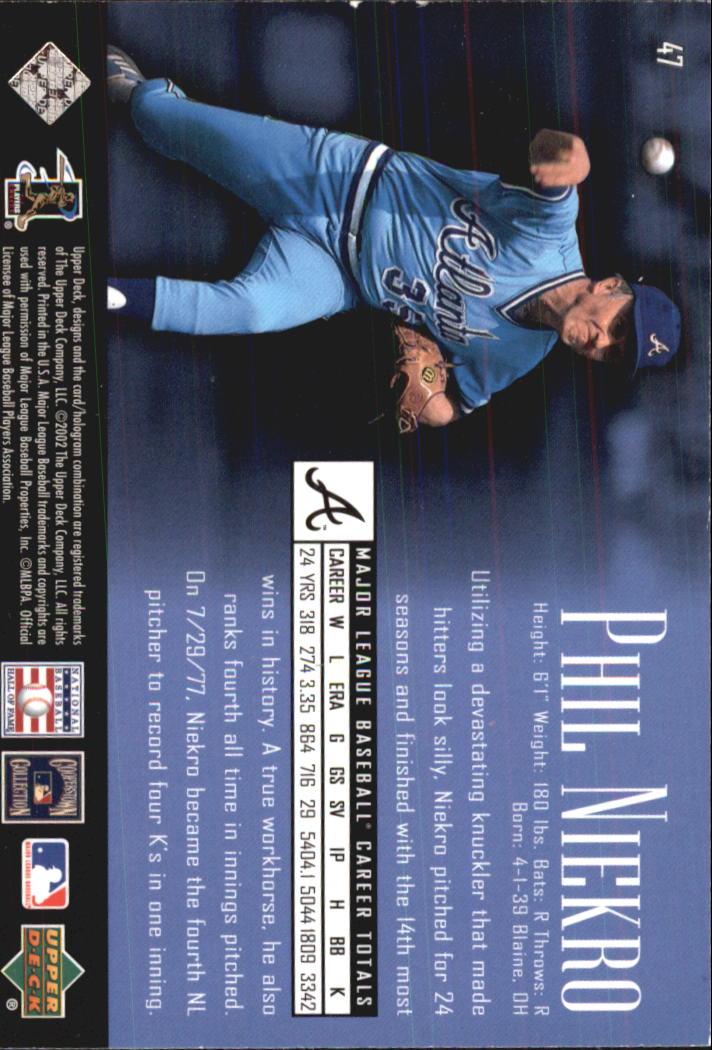 2002 UD Piece of History #47 Phil Niekro back image