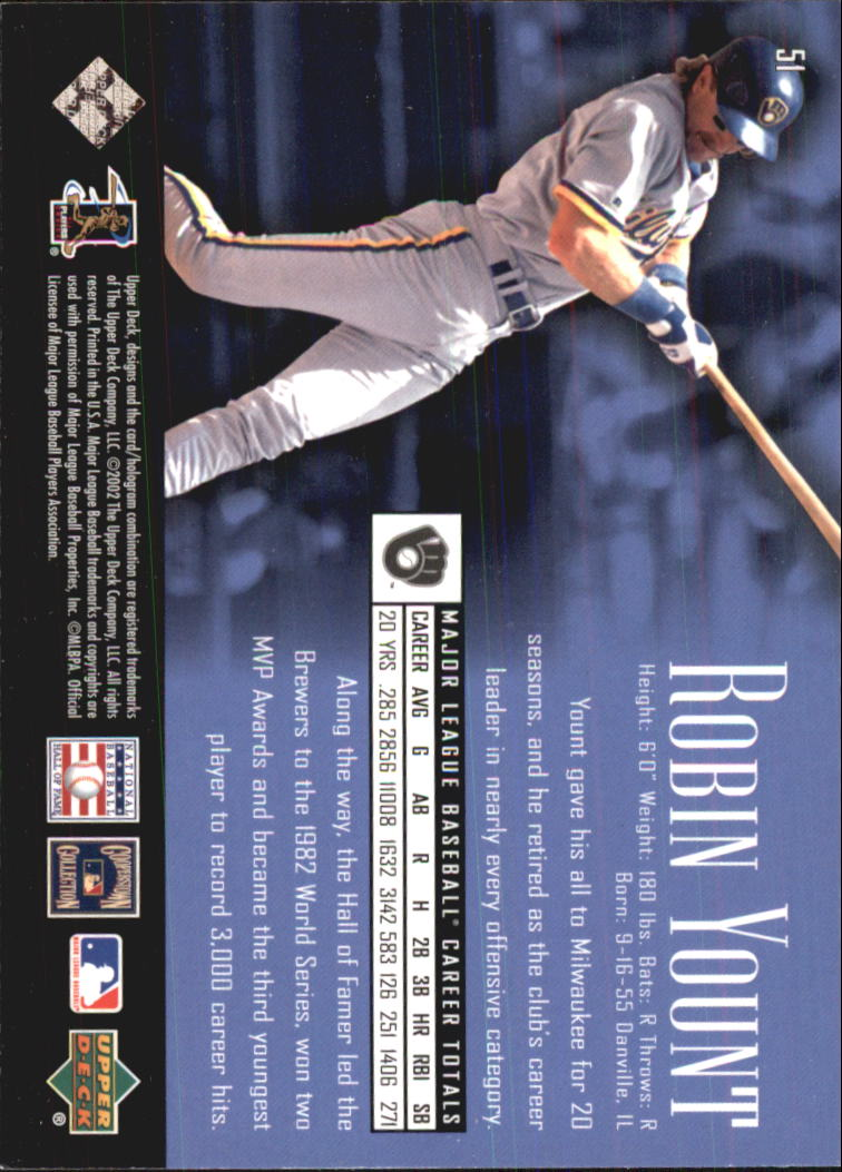 2002 UD Piece of History #51 Robin Yount back image