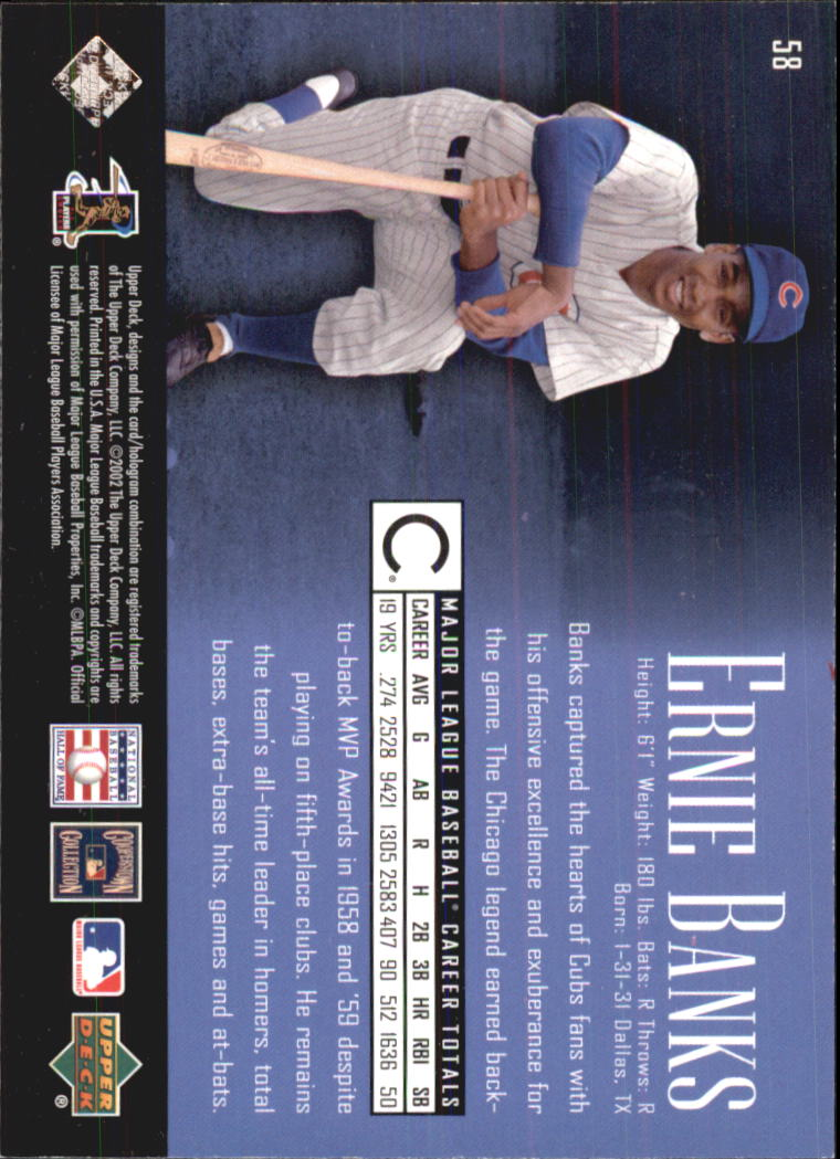 2002 UD Piece of History #58 Ernie Banks back image