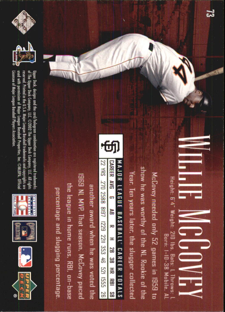2002 UD Piece of History #73 Willie McCovey back image