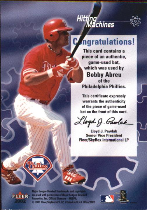 2002 Ultra Hitting Machines Game Bat #1 Bobby Abreu back image