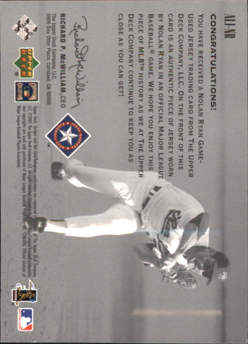 2002 Upper Deck AL Centennial Memorabilia #ALJNR Nolan Ryan Jsy back image