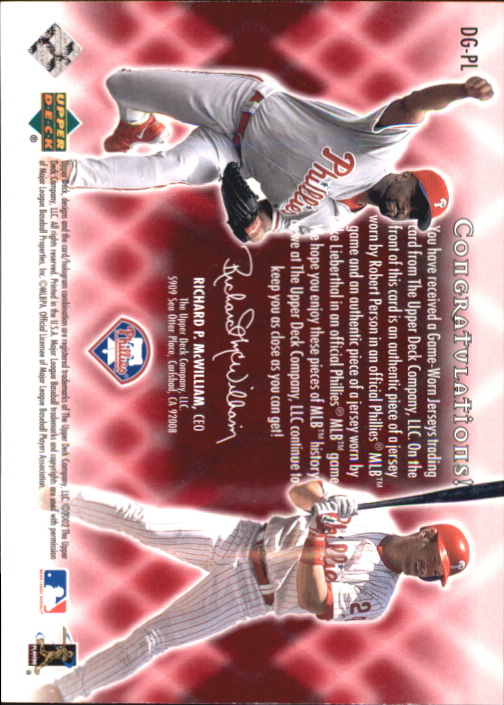2002 Upper Deck Double Game Worn Gems #DGPL Robert Person/Mike Lieberthal back image