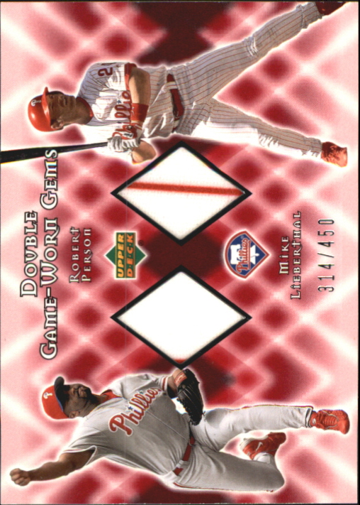 2002 Upper Deck Double Game Worn Gems #DGPL Robert Person/Mike Lieberthal