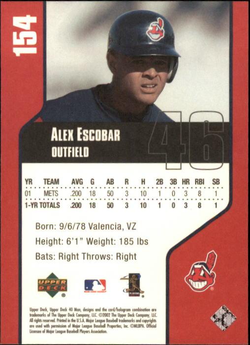 2002 Upper Deck 40-Man #154 Alex Escobar back image