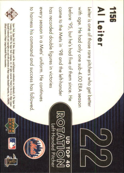 2002 Upper Deck 40-Man #1156 Al Leiter RT back image