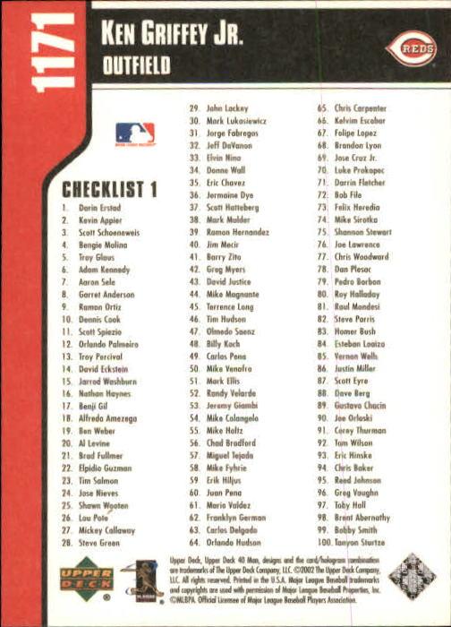 2002 Upper Deck 40-Man #1171 Ken Griffey Jr. CL back image