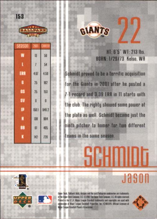 2002 Upper Deck Ballpark Idols Bronze #153 Jason Schmidt back image