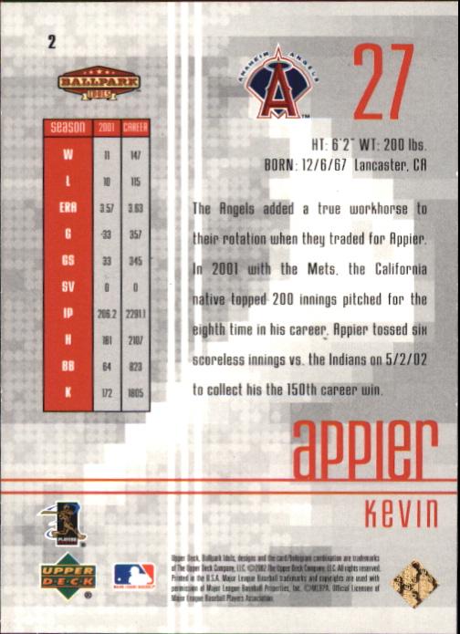 2002 Upper Deck Ballpark Idols Gold #2 Kevin Appier back image