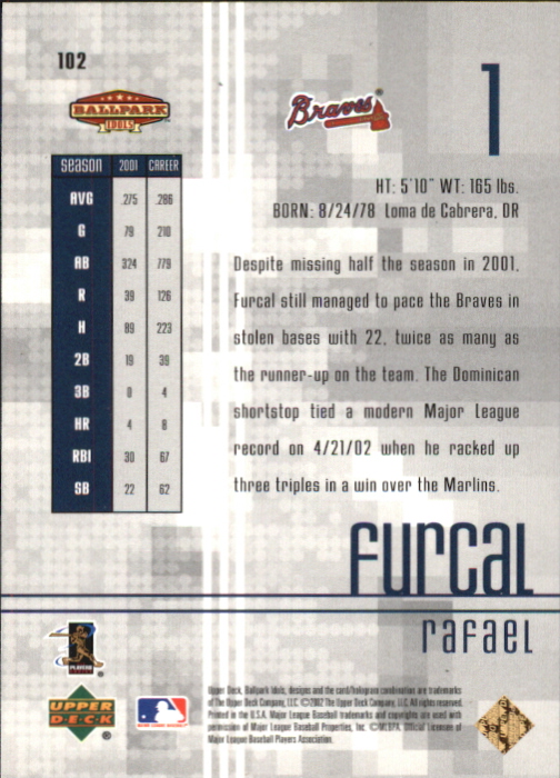 2002 Upper Deck Ballpark Idols Gold #102 Rafael Furcal back image