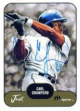 2002 Just Prospects Autographs #8 Carl Crawford/50
