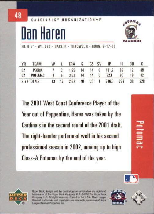 2002 UD Minor League #48 Dan Haren back image