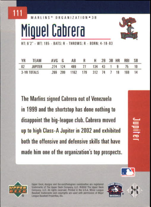 2002 UD Minor League #111 Miguel Cabrera back image