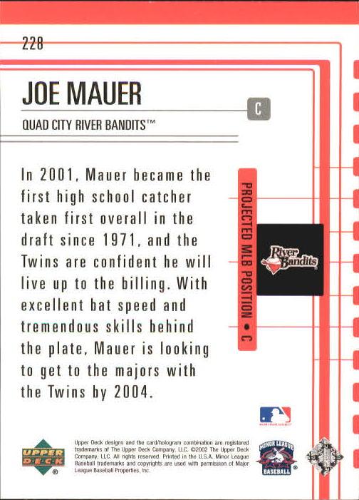 2002 UD Minor League #228 Joe Mauer OFT back image