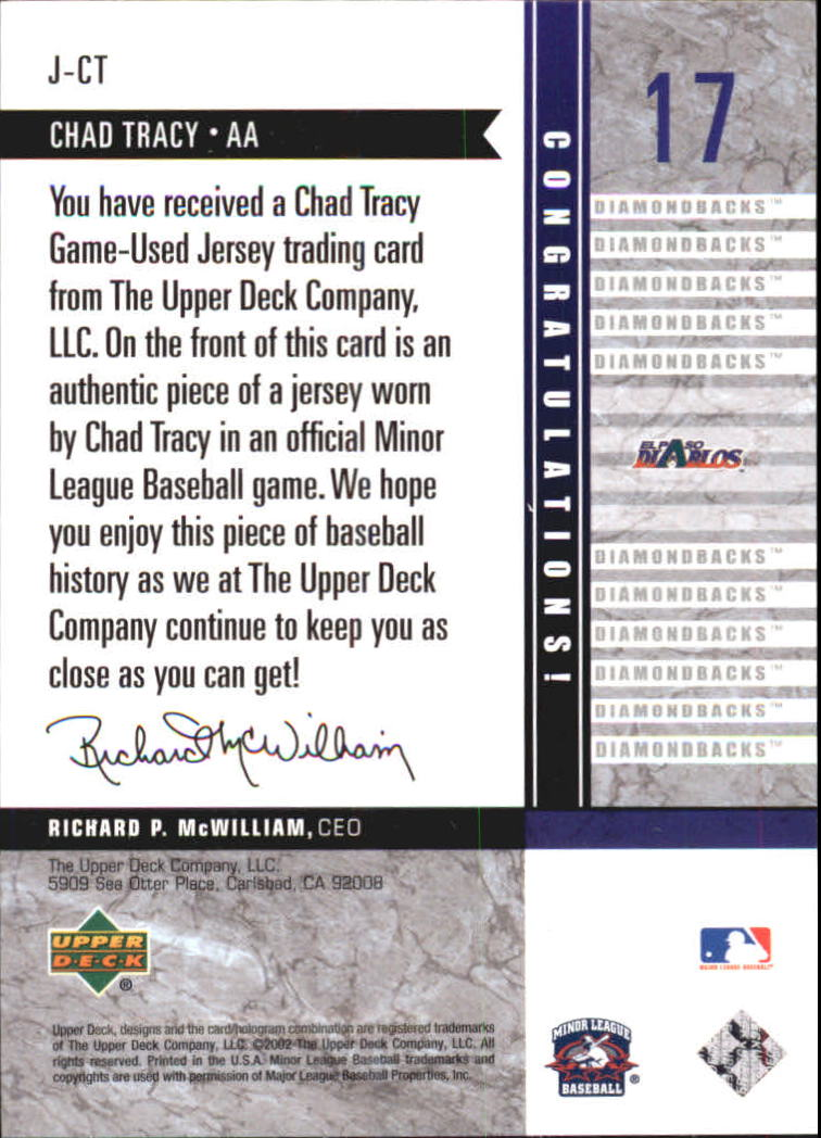 2002 UD Minor League Game Jerseys #JCT Chad Tracy back image