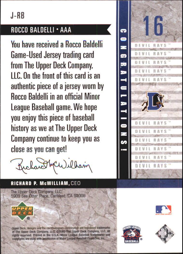 2002 UD Minor League Game Jerseys #JRB Rocco Baldelli back image