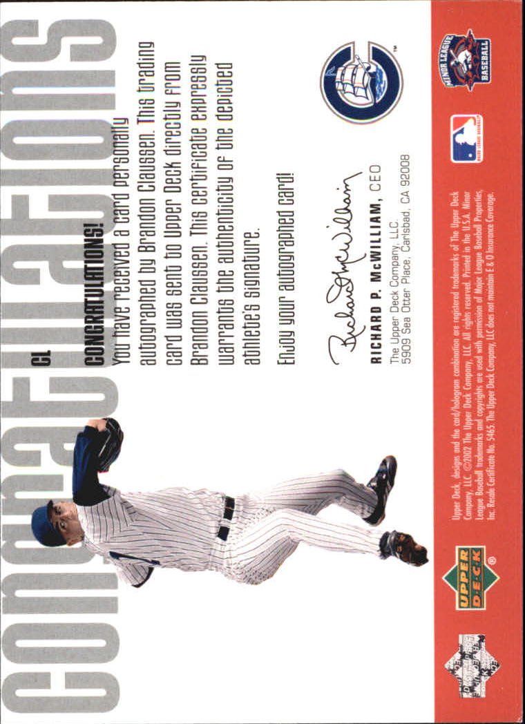 2002 UD Minor League Signature Collection #CL Brandon Claussen back image