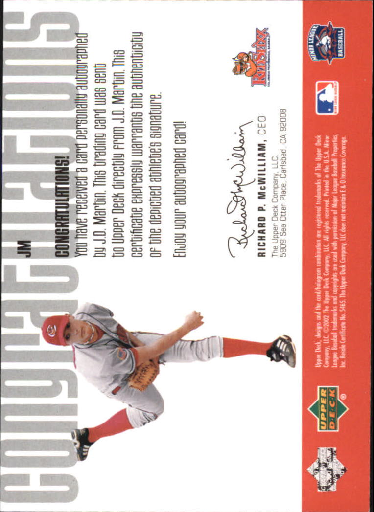 2002 UD Minor League Signature Collection #JM J.D. Martin back image
