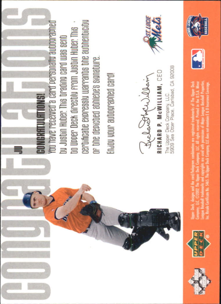 2002 UD Minor League Signature Collection #JU Justin Huber back image