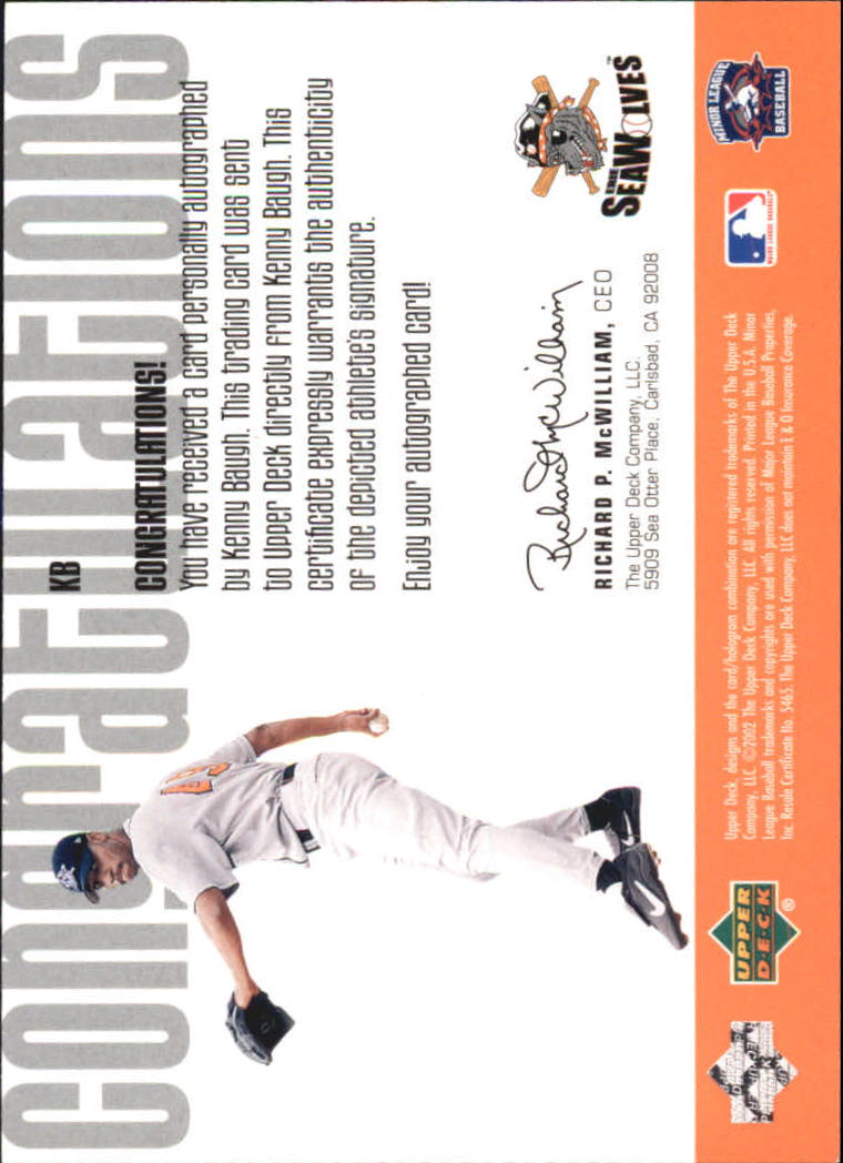 2002 UD Minor League Signature Collection #KB Kenny Baugh back image