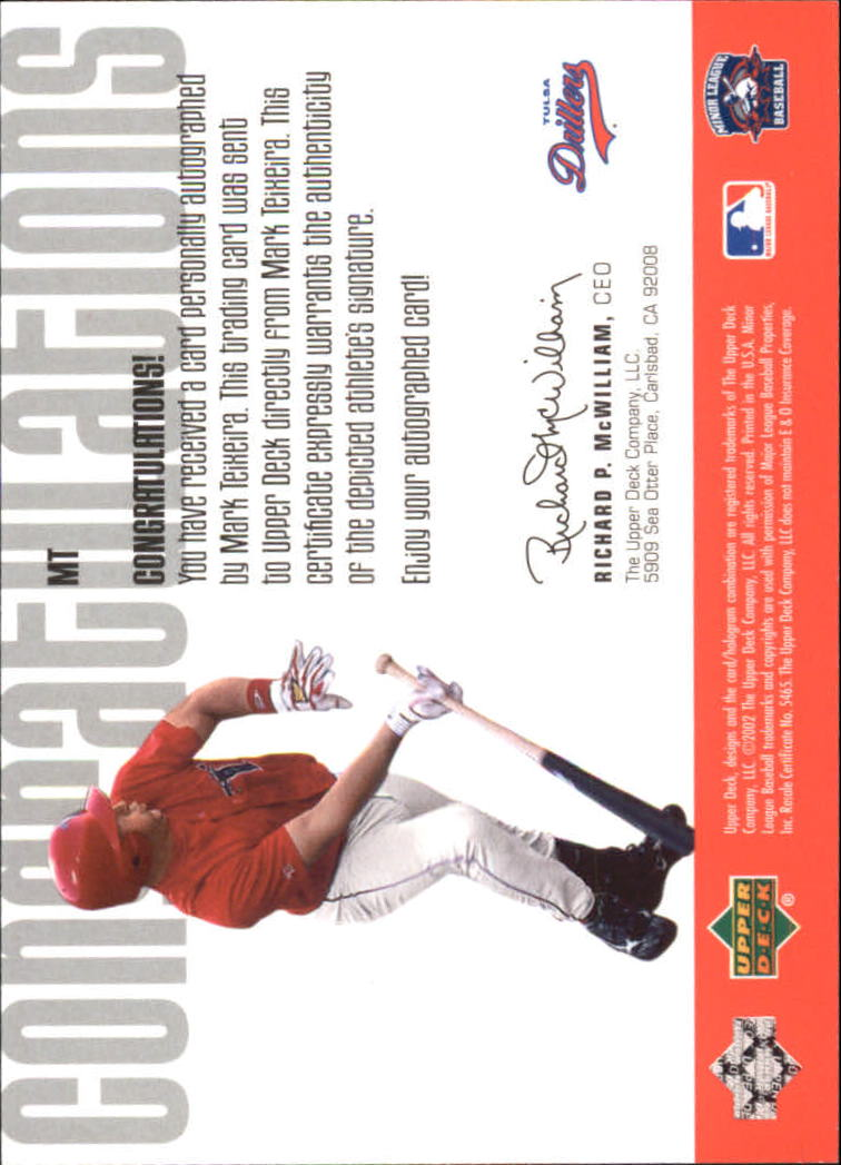2002 UD Minor League Signature Collection #MT Mark Teixeira back image