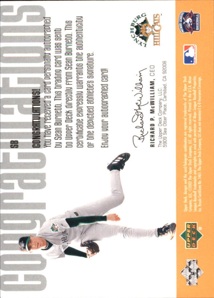 2002 UD Minor League Signature Collection #SB Sean Burnett back image