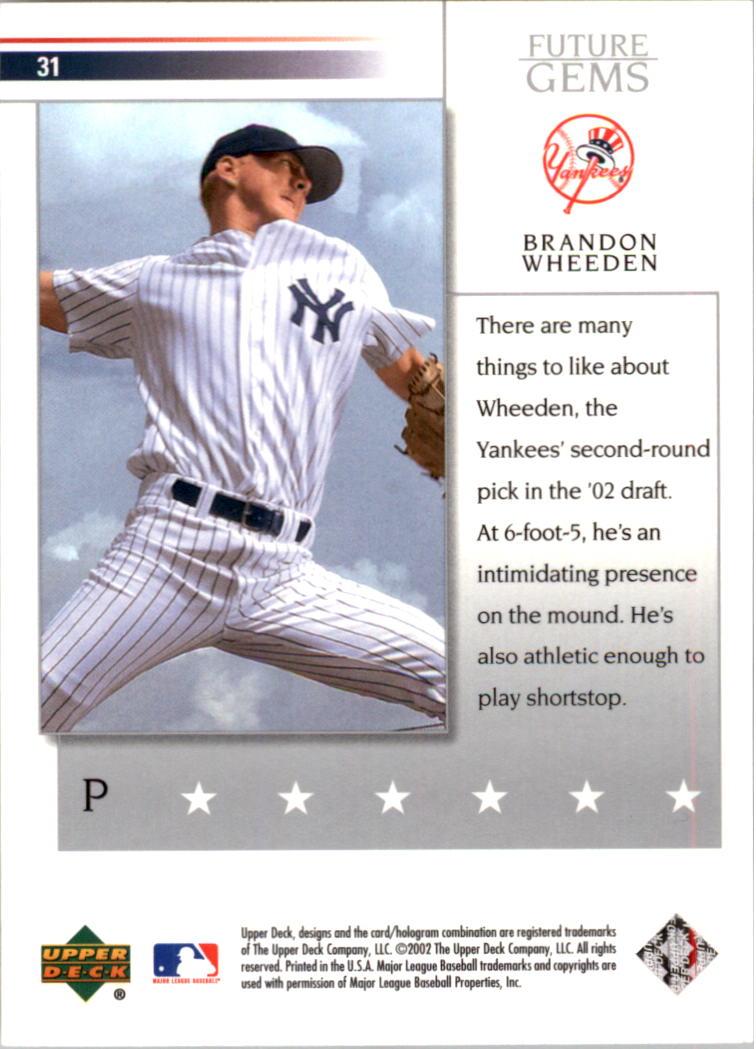 2002 Upper Deck Prospect Premieres #31 Brandon Weeden XRC back image