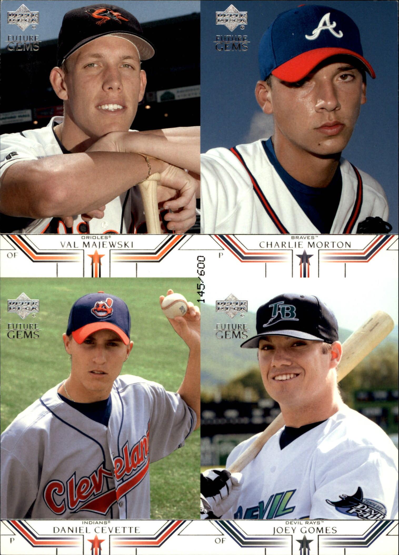 2002 Upper Deck Prospect Premieres Future Gems Quads #19 Val Majewski/Charlie Morton/Daniel Cevette/Joey Gomes