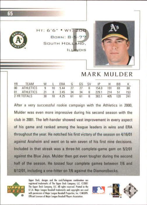 2002 Upper Deck #65 Mark Mulder back image