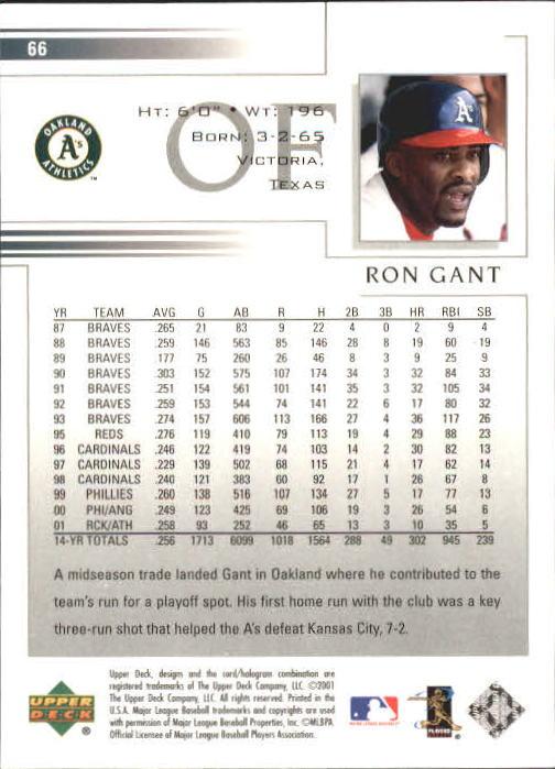 2002 Upper Deck #66 Ron Gant back image