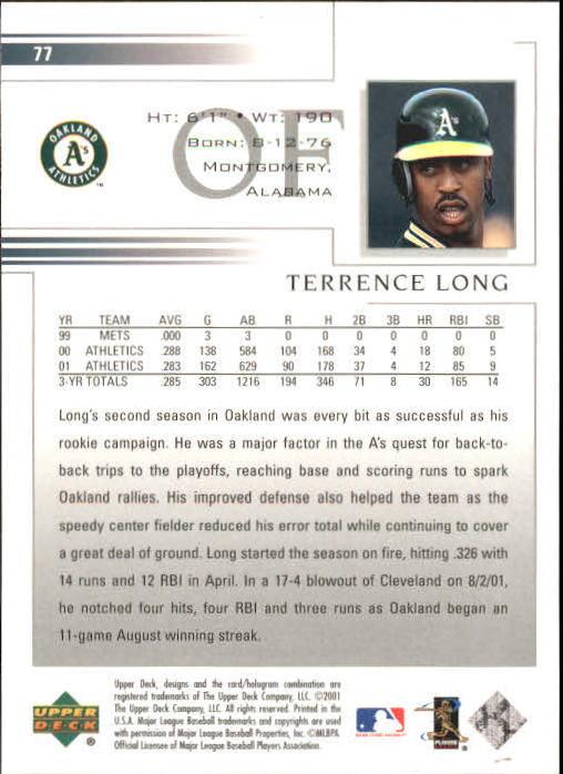 2002 Upper Deck #77 Terrence Long back image