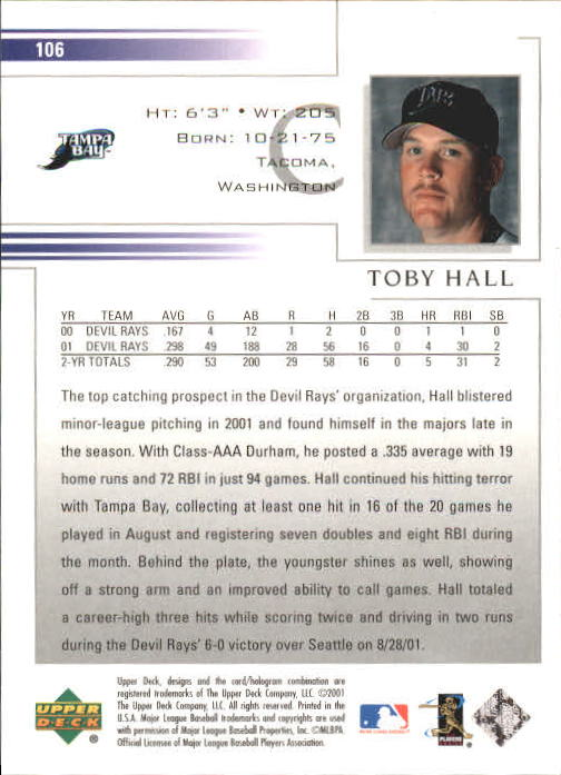 2002 Upper Deck #106 Toby Hall back image