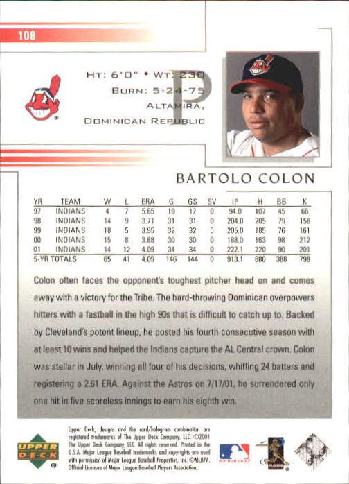 2002 Upper Deck #108 Bartolo Colon back image
