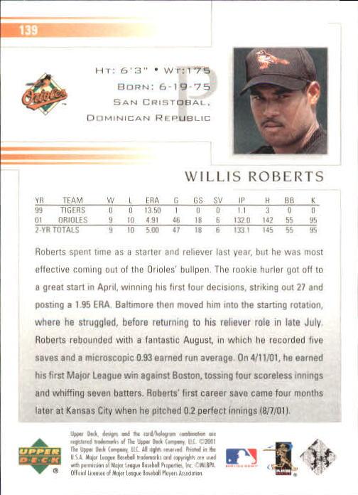 2002 Upper Deck #139 Willis Roberts back image