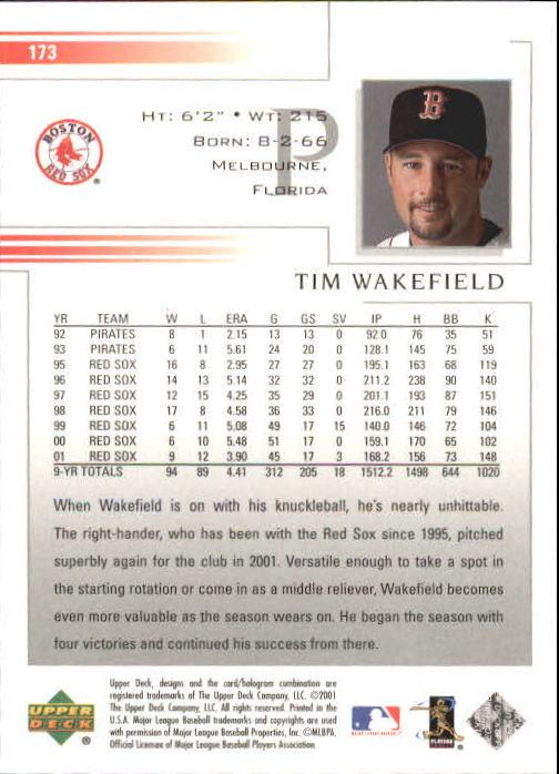 2002 Upper Deck #173 Tim Wakefield back image