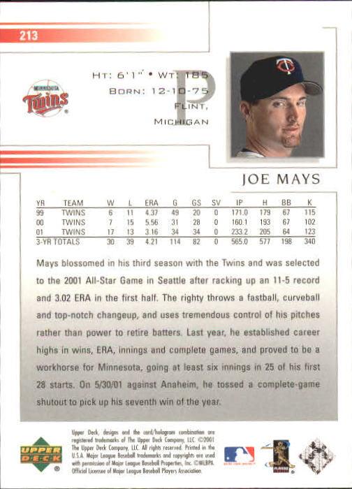 2002 Upper Deck #213 Joe Mays back image