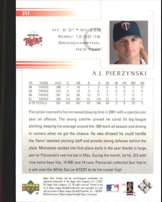 2002 Upper Deck #217 A.J. Pierzynski back image