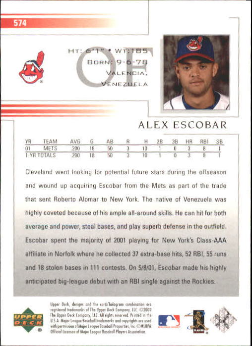 2002 Upper Deck #574 Alex Escobar back image