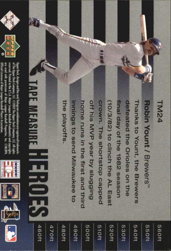 2002 UD Piece of History Tape Measure Heroes #TM24 Robin Yount back image